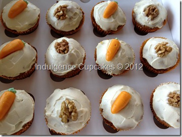 Carrot cake cupcakes with honey cream cheese frosting